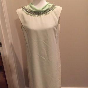 Vintage jeweled neck midi dress. Mint green